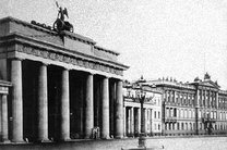 Brandenburg Gate (left) next to the Blücher Palace (far right)