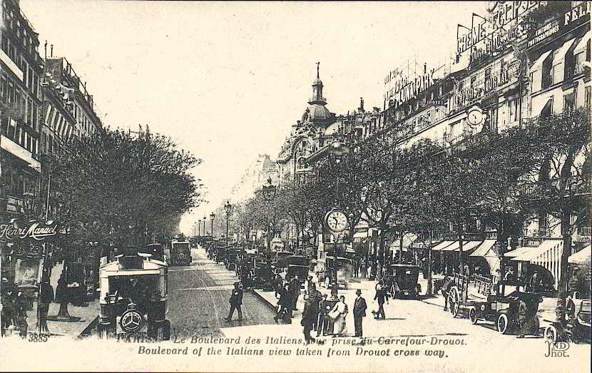 Le Boulevard des Italiens, vu du carrefour Richelieu-Drouot, 1910.