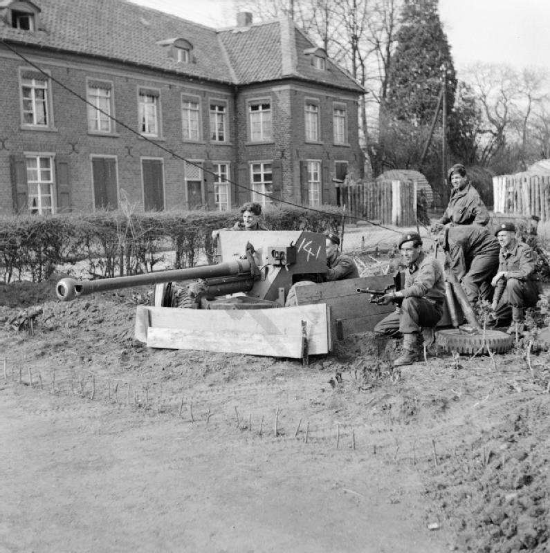 British airborne troops with a 6-pdr anti-tank gun