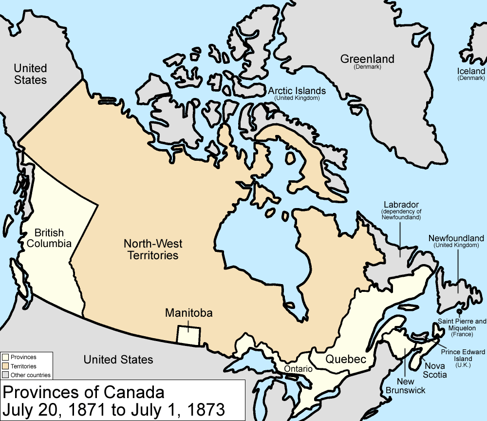 Map Of Canada In 1873 File:Canada provinces 1871 1873.png   Wikimedia Commons