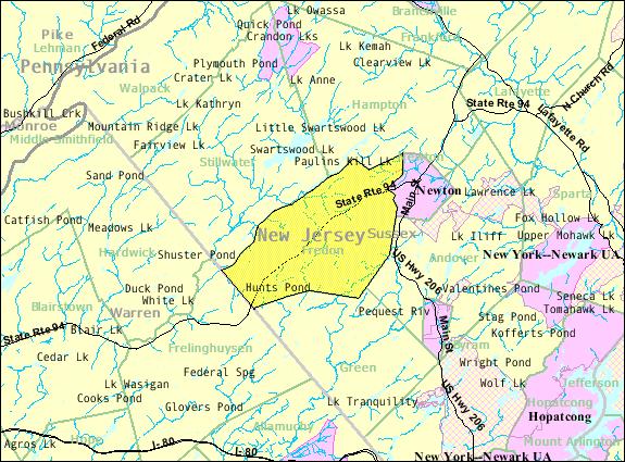 Census Bureau map of Fredon Township, New Jersey
