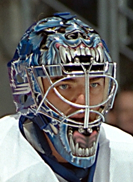 Curtis Joseph behind the mask for the [[Toronto Maple Leafs]].