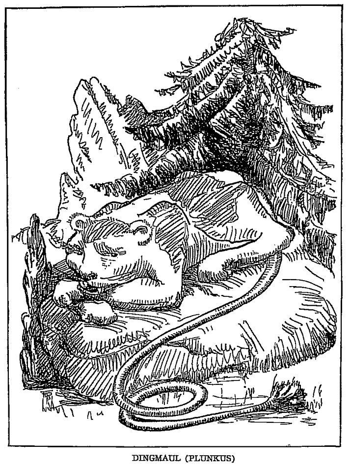 Illustration of an American mythical dingmaul.