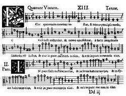 "Tenor voice part of Jacob Handl's Ecce quomodo moritur iustus: over a century after its publication ""for use in the Catholic Church"" (""Catholicae Ecclesiae vsv"") it was a well-known Protestant funeral motet."