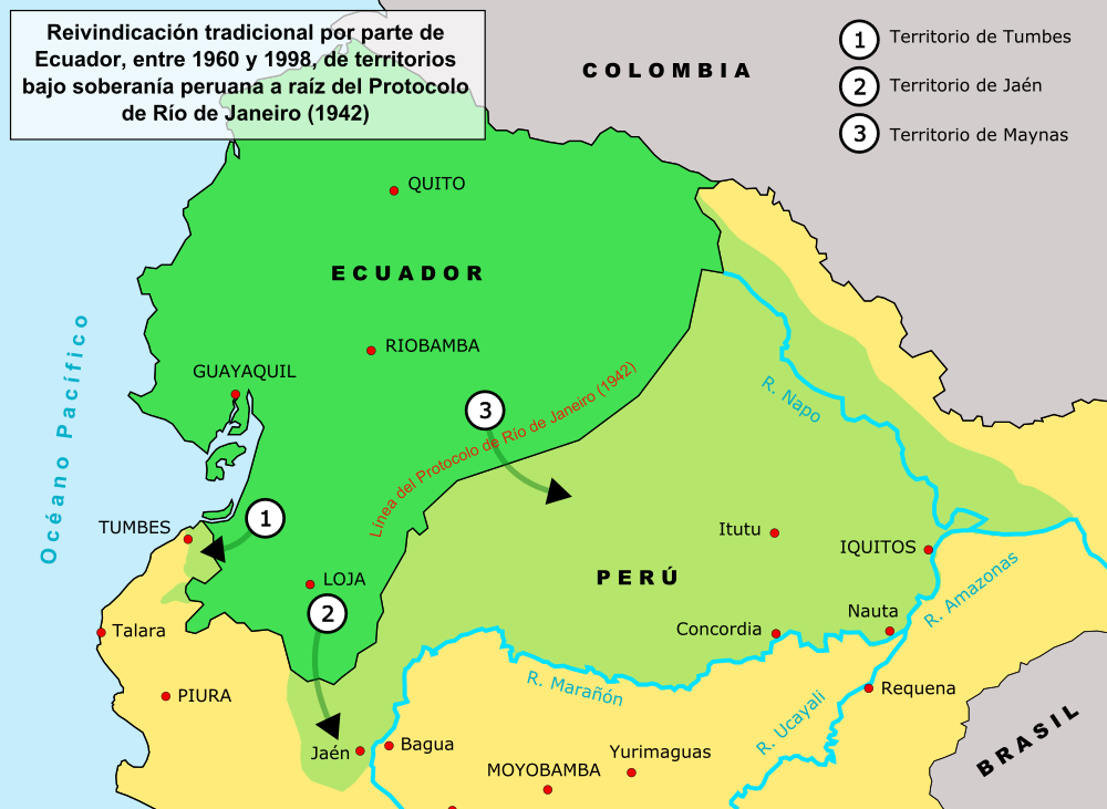 Map If Peru History of the Ecuadorian–Peruvian territorial dispute   Wikipedia