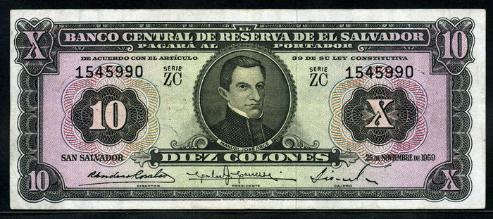 File El Salvador 10 Colones Banknote Of 1959 Jpg