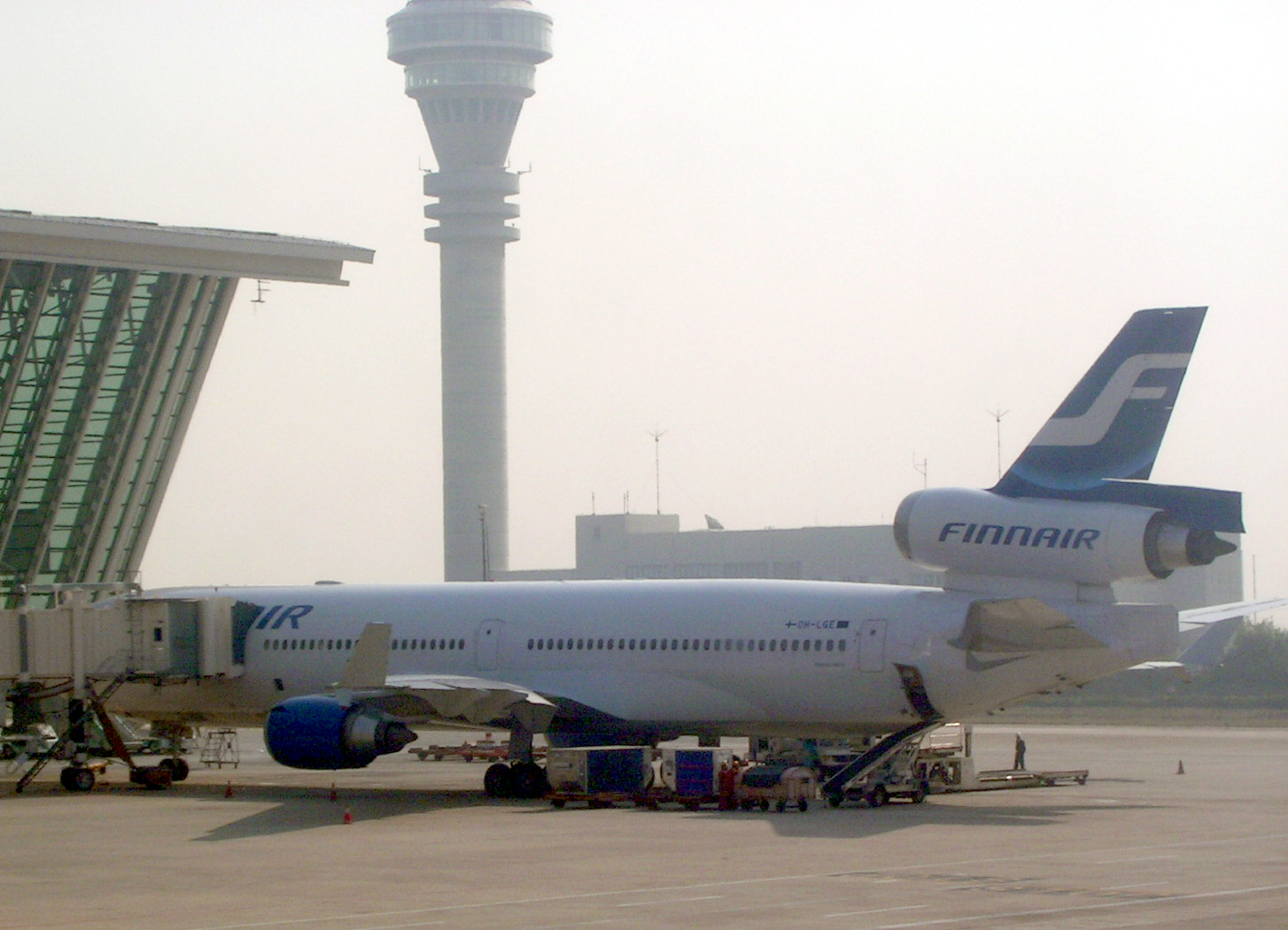 English: Finnair MD-11 aircraft (OH-LGE) at Sh...