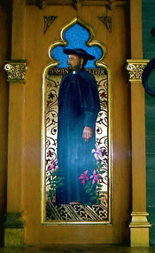 This reredos of Father Damien in the Episcopal St. Thomas the Apostle Hollywood shows cross-denominational veneration of the priest.