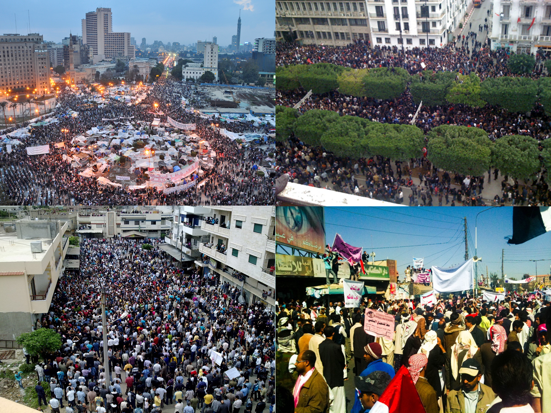 Primavera árabe. Revolução Egípcia, Revolução Tunisiana, Revolução Líbia e protesto no Iêmen.