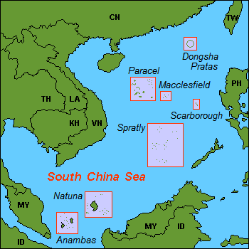 English: Map (rough) of South China Sea, own w...