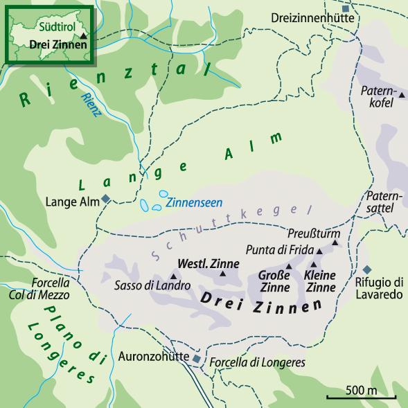 Karte Drei Zinnen