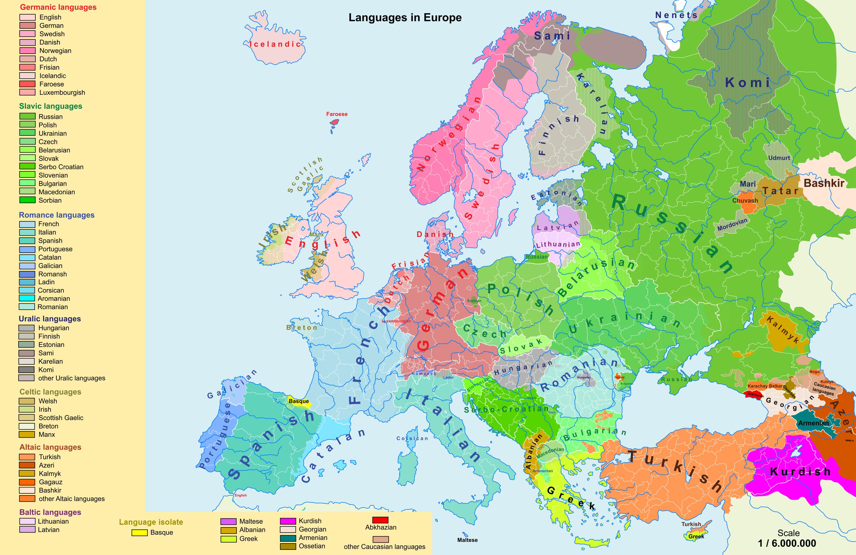 language map of europe