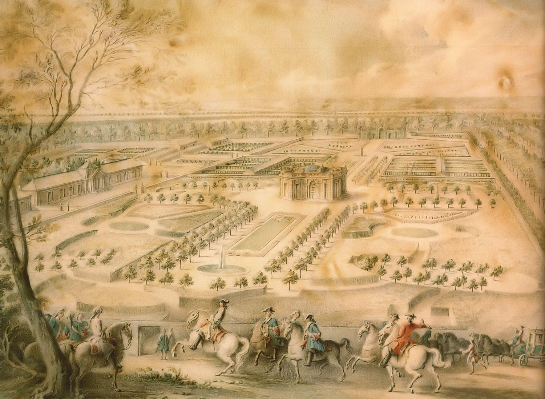 File louis xv en vue des jardins de trianon de la - Pavillon de jardin ...