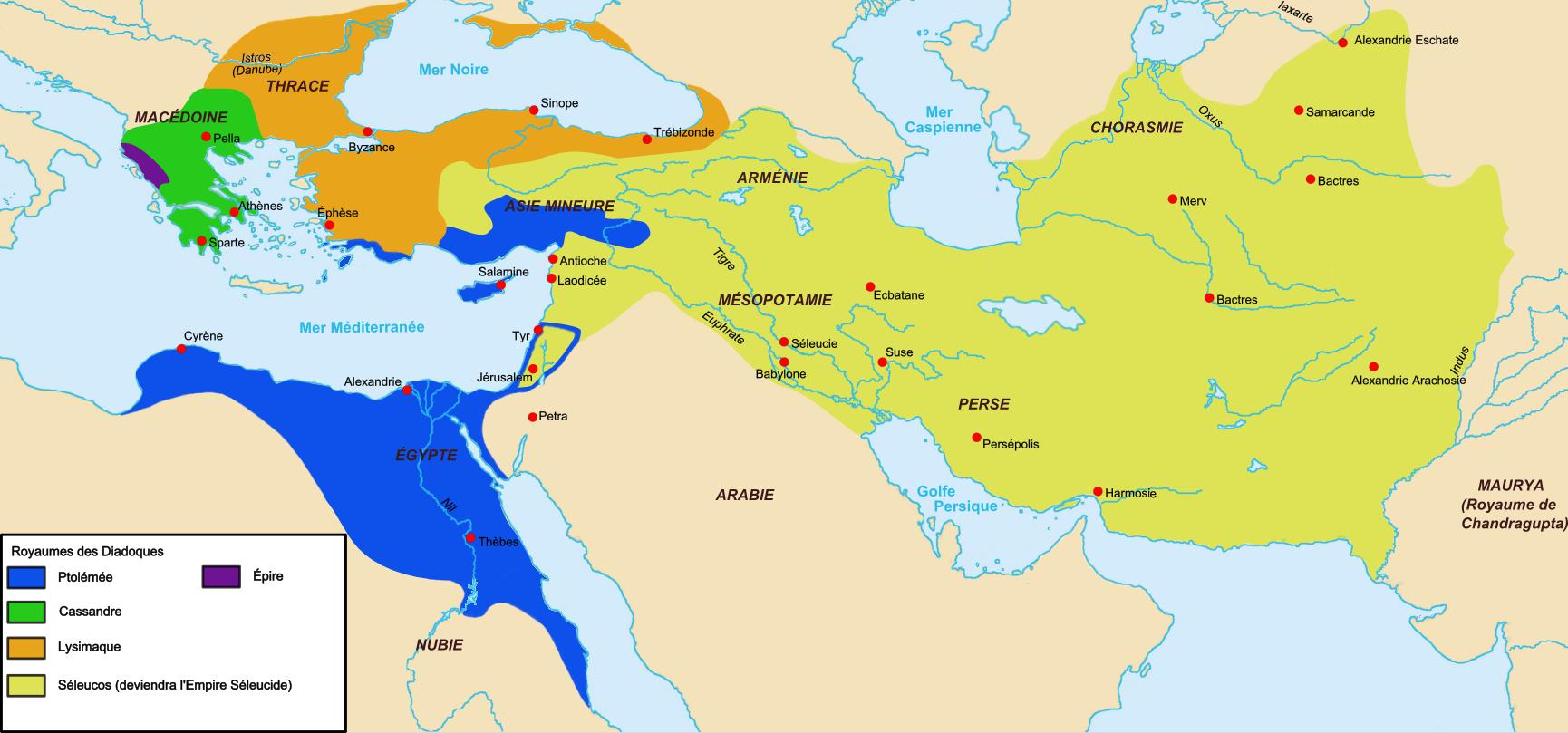 Monnayage d'Alexandre le grand, des Diadoques & des Epigones Map_Diadochs-fr