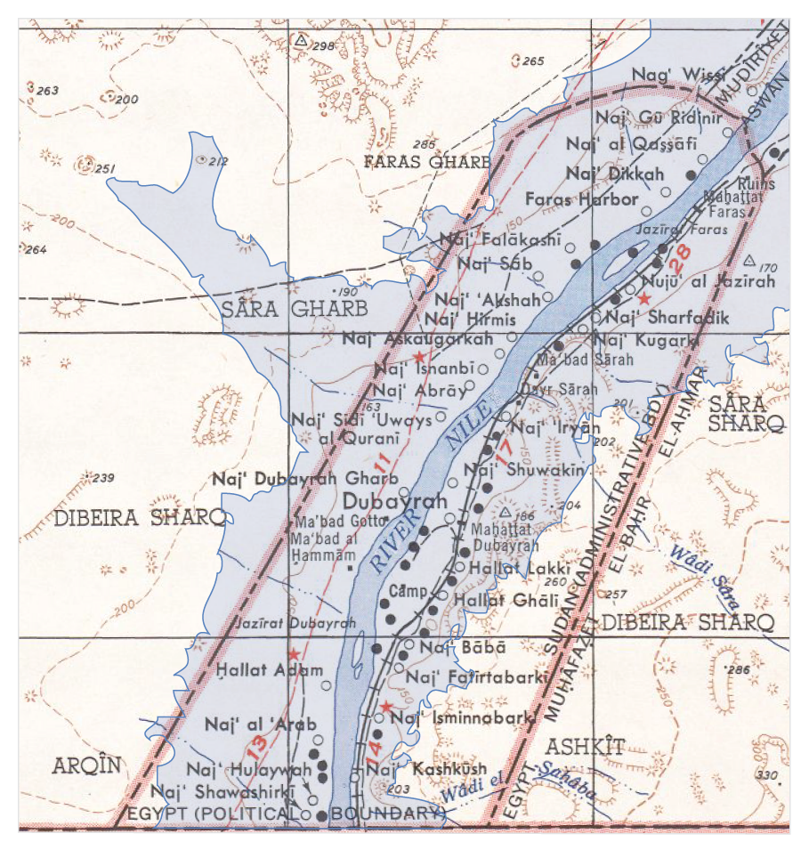 file map of the flooding areas of the lake nasser in the wadi