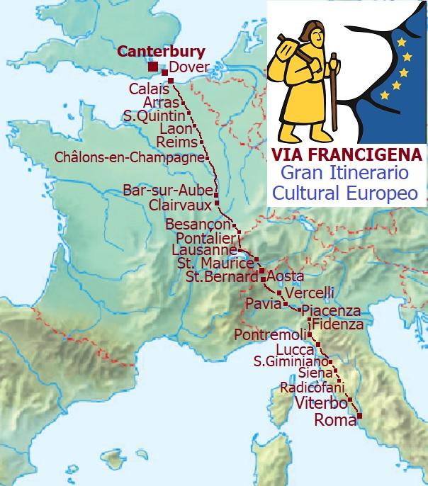 Via Francigena mapa trasy