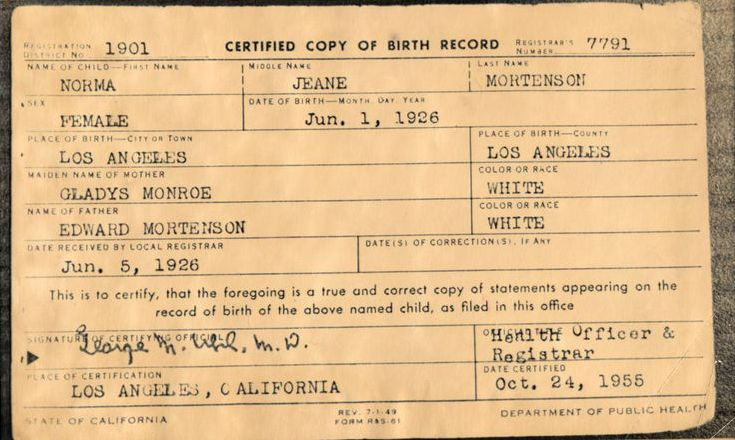 FileMarilyn Monroe Birth Certificate OriginalJpg  Wikimedia Commons
