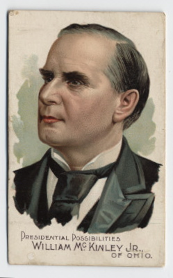 "A cigarette card bearing a colour image of a politician, denoted to be ""William McKinley Jr of Ohio"". The grey-haired man's head points to the left with a neutral expression."