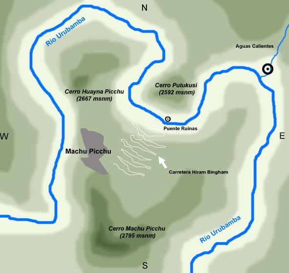 mapa del Machu Pichu