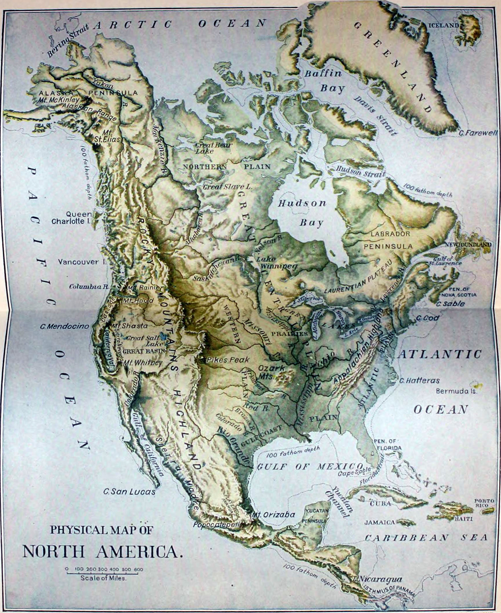 North America Map Physical.File Nie 1905 America North Physical Map Jpg Wikimedia Commons