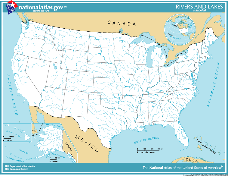 Map Of Us Rivers And State Capitols Globalinterco - Us map unlabeled