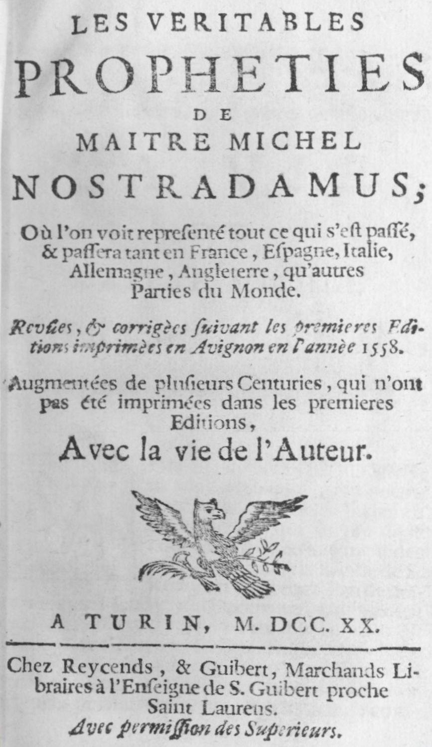 Nostradamus y la Profecía del Cometa - Página 2 Nostradamus_Centuries1720