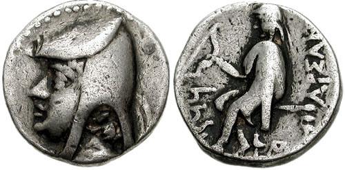 سکه نقره با تصویر چهره ارشک و نام وی (به یونانی: ΑΡΣΑΚΟΥ)