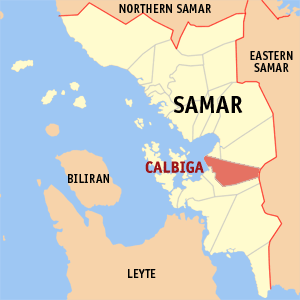 Map of Samar showing the location of Calbiga
