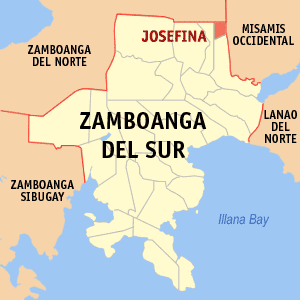 Map of Zamboanga del Sur showing the location of Josefina