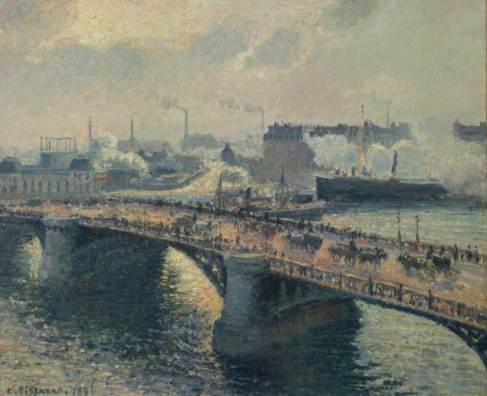 Pont Boieldieu, Rouen, Sunset, Smoke
