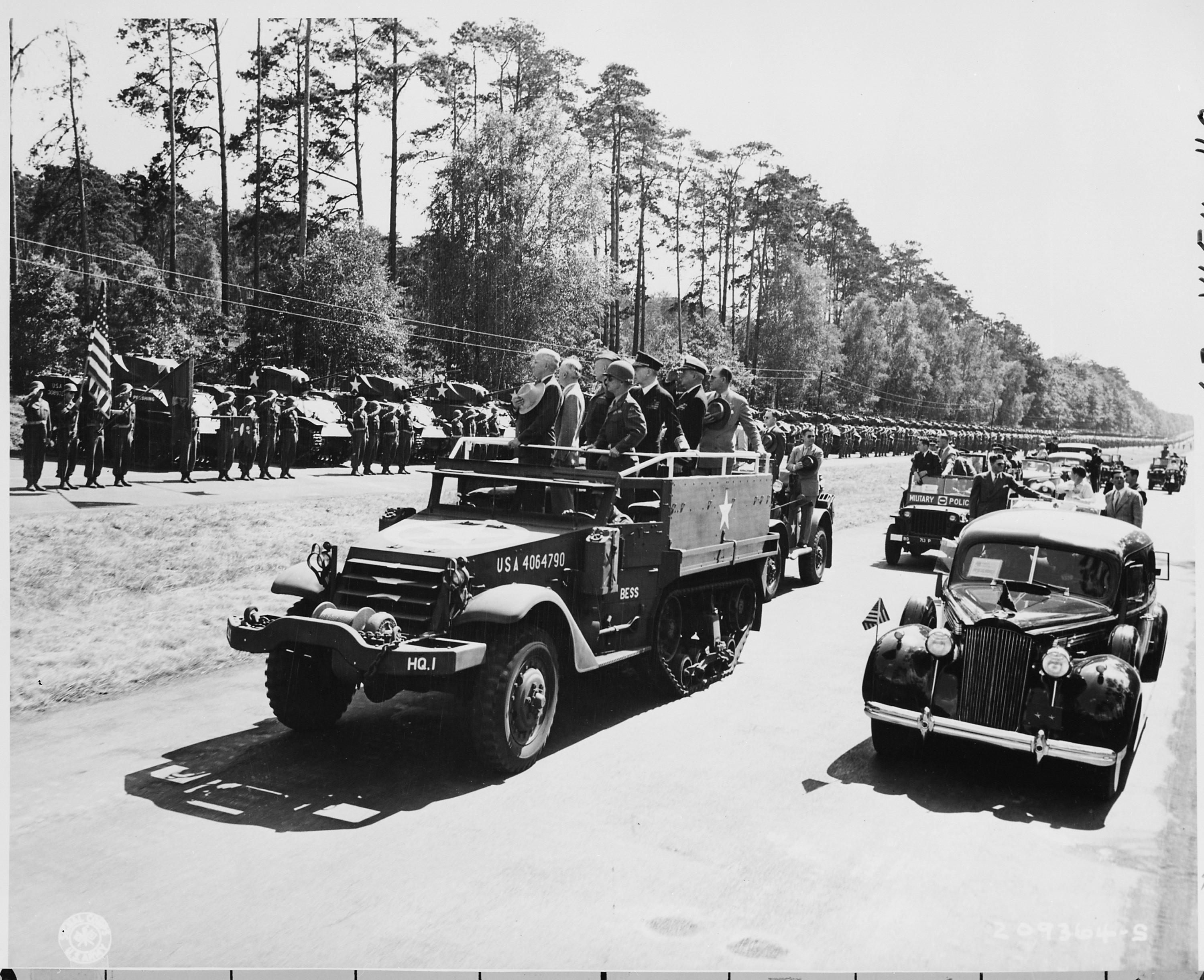 File President Harry S Truman Reviews The 2nd Armored