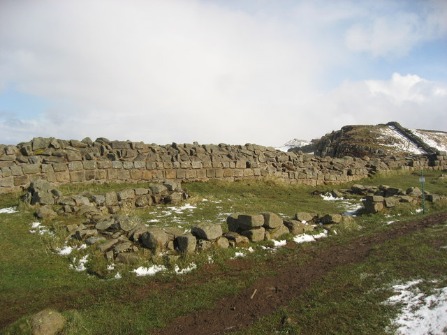 Remains of two 16th C buildings behind Hadrian's Wall near Sycamore Gap - geograph.org.uk - 750530