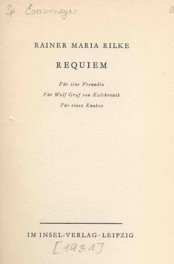 Réquiem de Rilke.