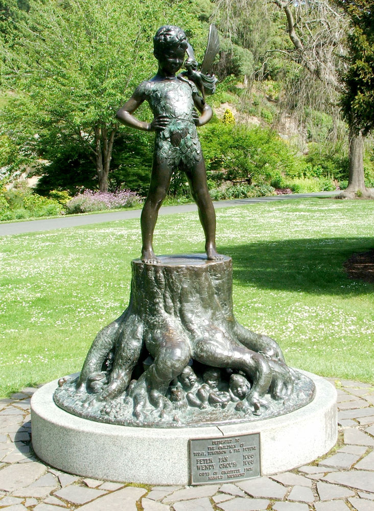 Statue of Peter Pan and Tinkerbell in Dunedin Botanic Gardens, Dunedin, New Zealand.jpg