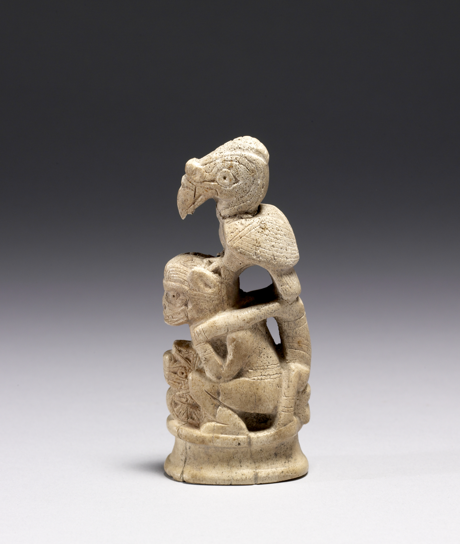 File tairona bone carving of a shaman vulture walters