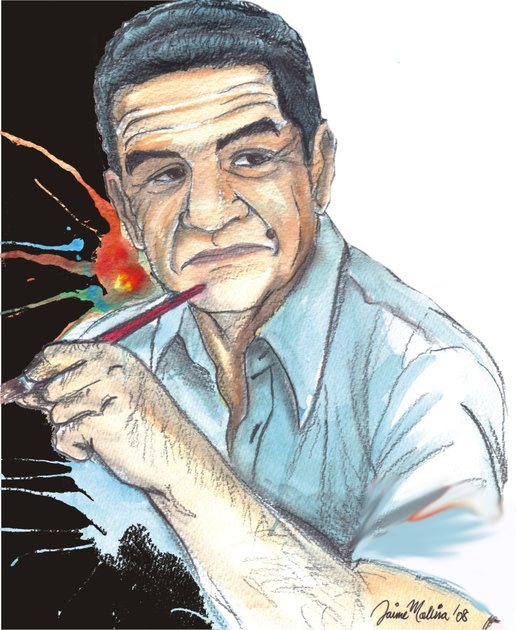 Retrato de Jaime Molina pintado por su tío, para un póster de homenaje
