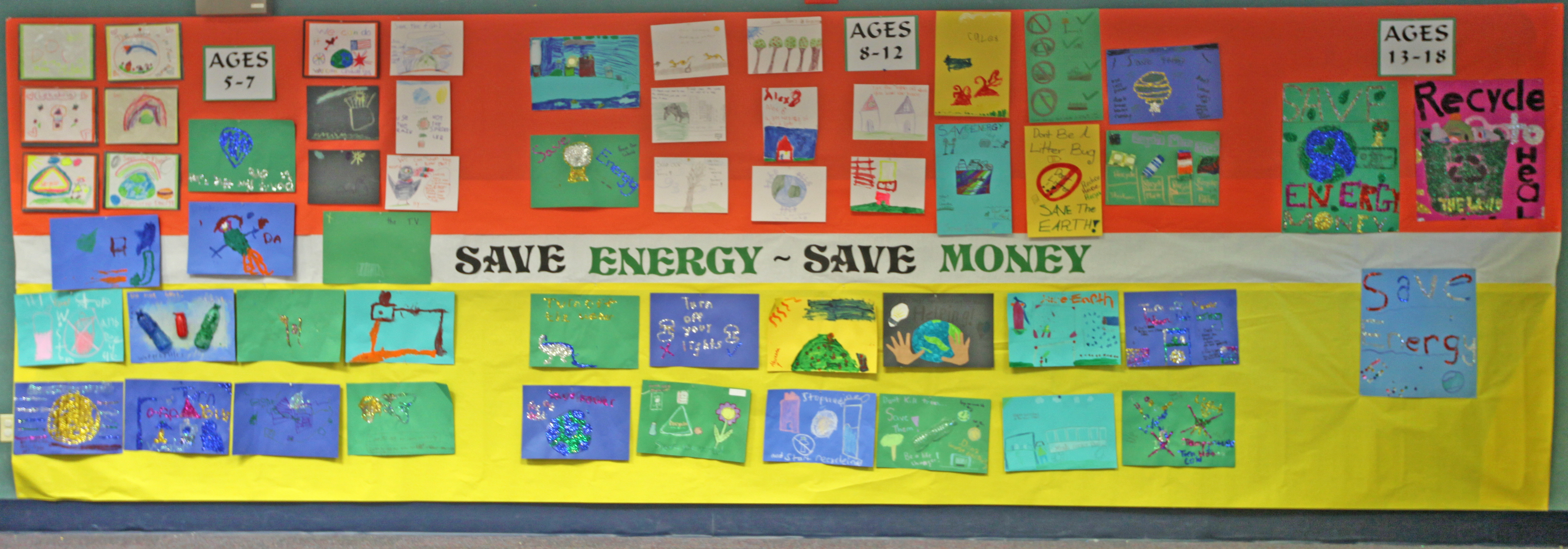 school wall touting energy savings