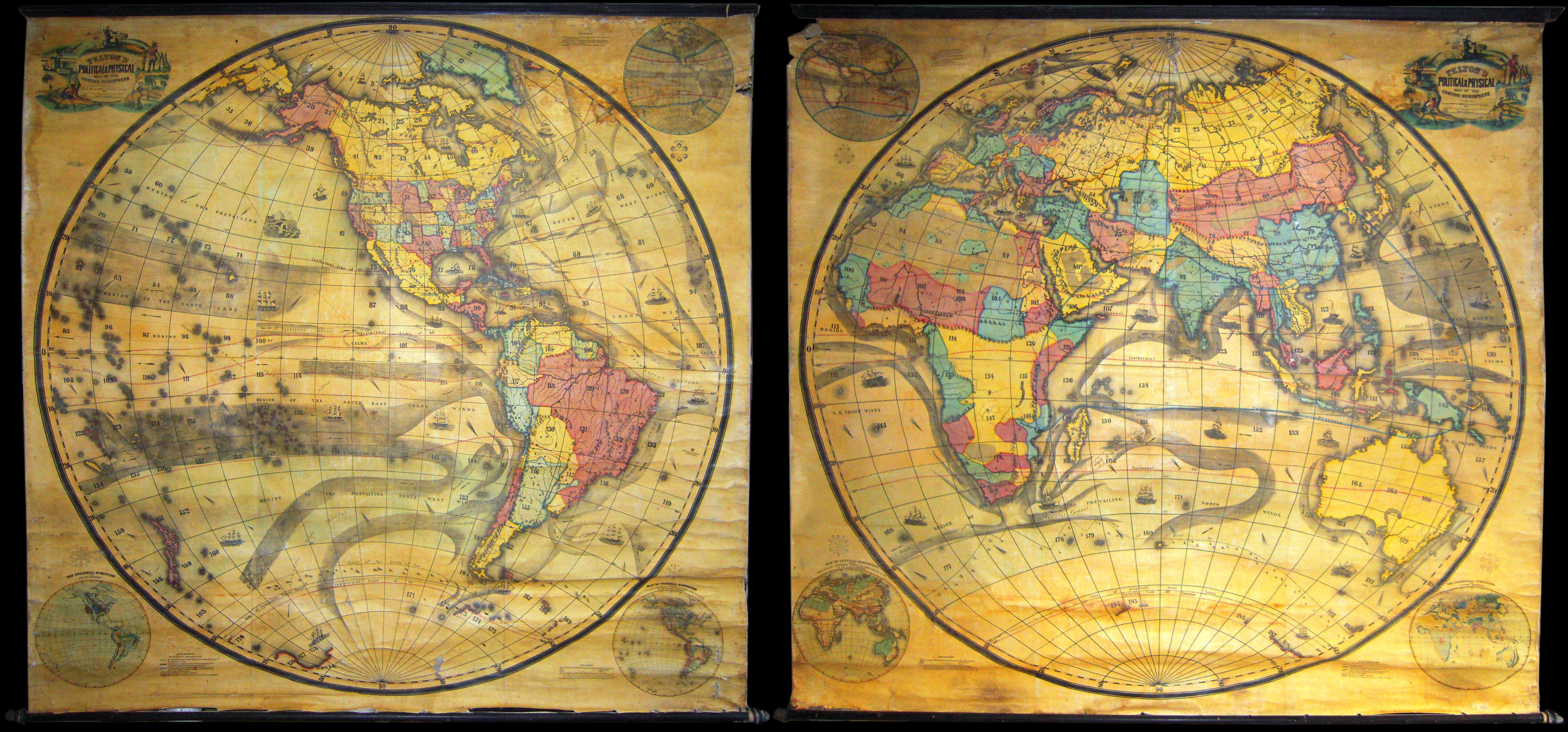 File:1858 Set Of Two Pelton Wall Maps, Western Hemisphere And Eastern  Hemisphere