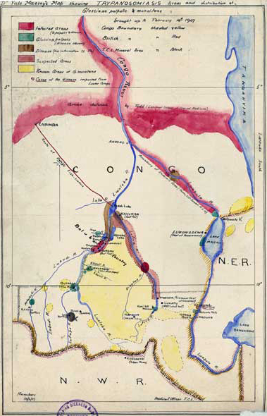 Map showing trypanosomiasis in the Belgian Congo, Dr. Yale Massey, 1907