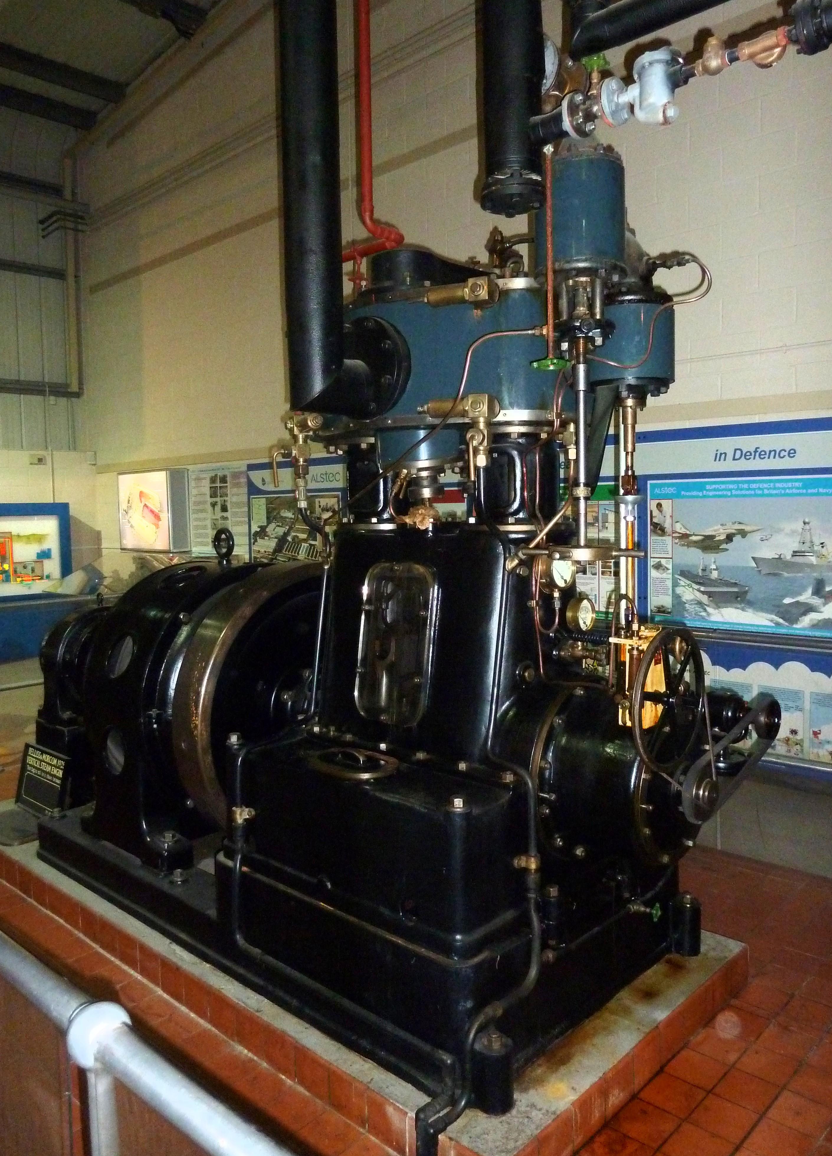 File Belliss & Mor high speed steam engine generator set