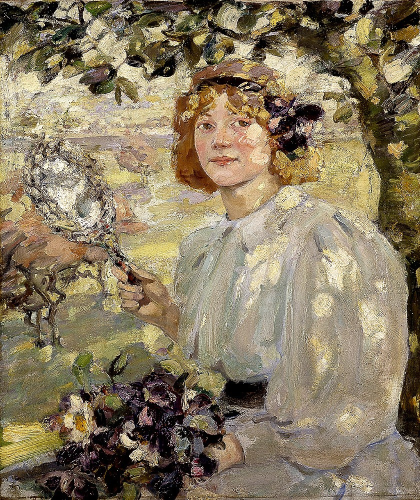 Image of Bessie MacNicol's painting Under the Apple Tree with young woman sitting under a tree in dappled sunlight