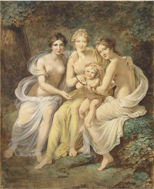 Charles-Etienne Le Guay - The Three Graces holding Cupid drawing a bow.jpg