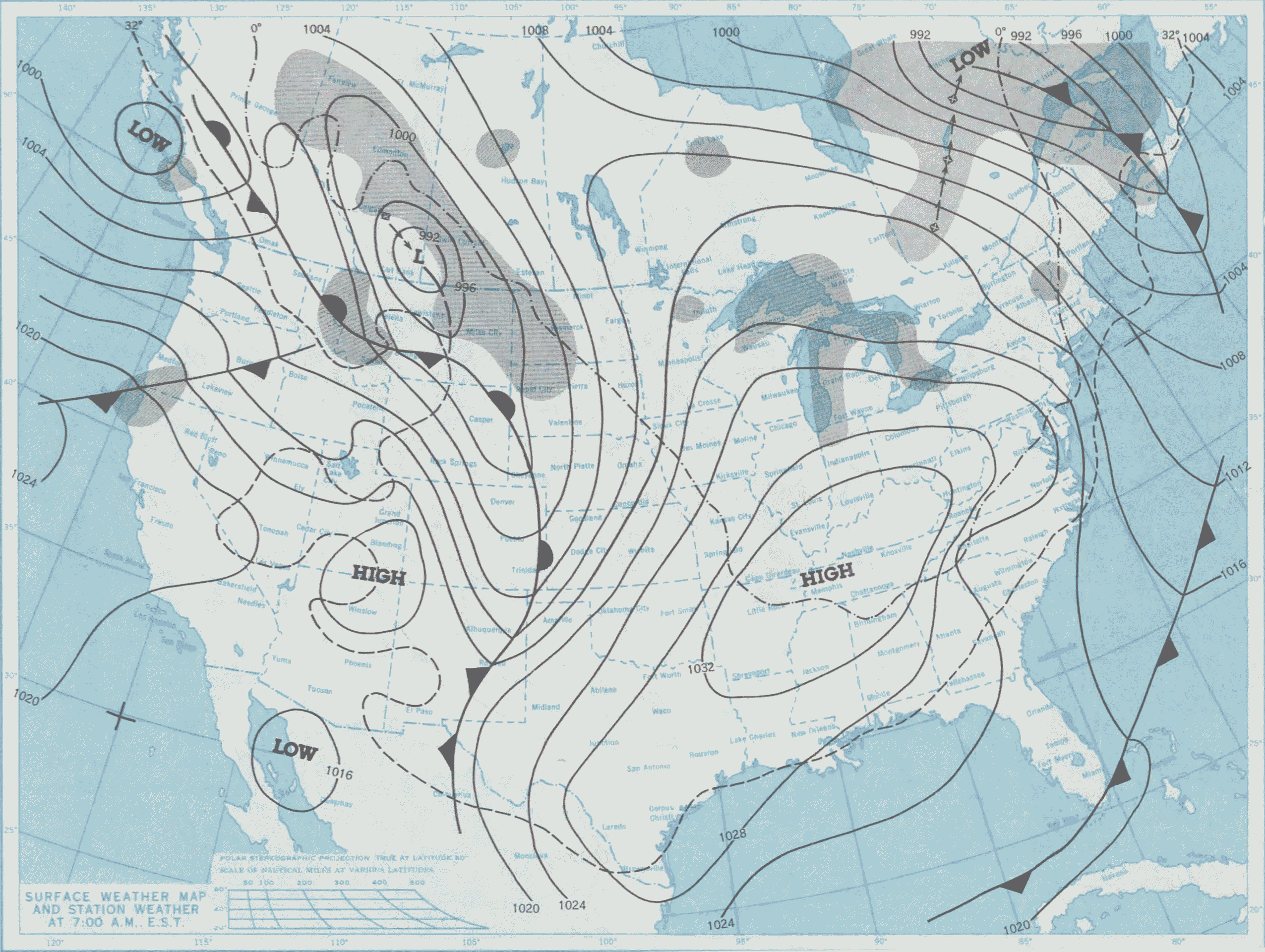 National Weather Service Surface Weather Map From January 17 1982