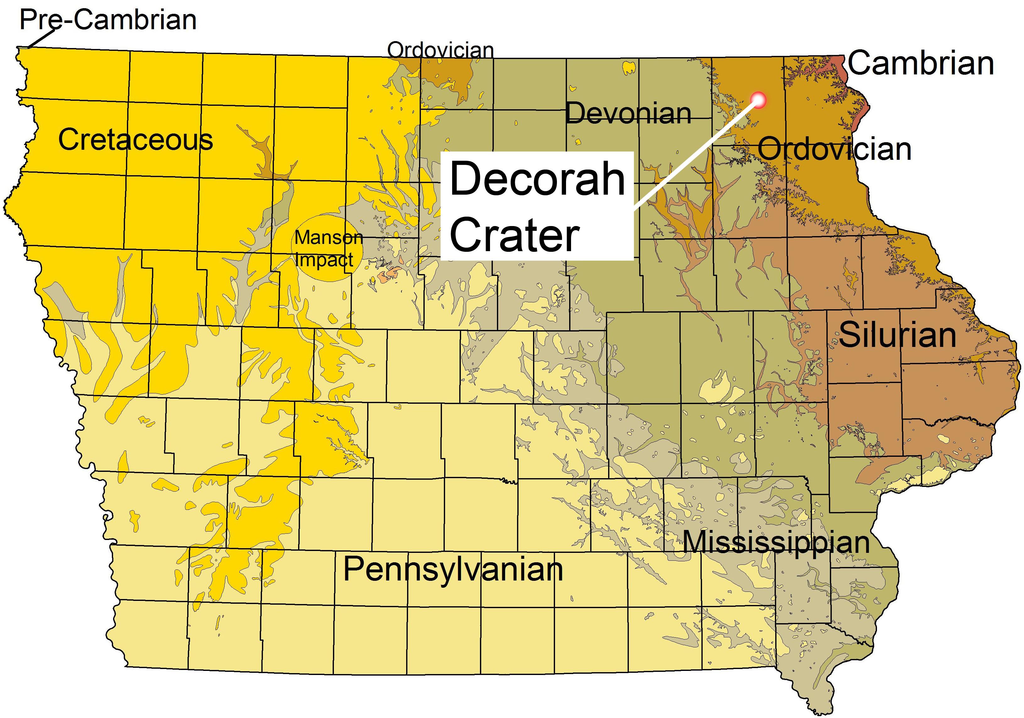 map of decorah iowa Decorah Crater Wikipedia map of decorah iowa