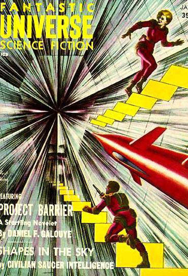 "Galouye's novelette ""Project Barrier"" was the cover story for the January 1958 issue of Fantastic Universe Fantastic universe 195801.jpg"