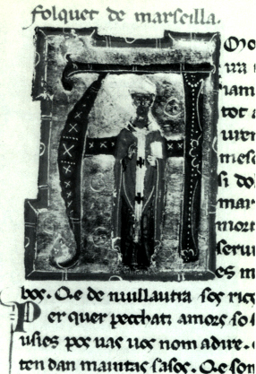 """Folquet de Marselha"" in a 13th-century chansonnier. Depicted in his episcopal robes Folquet de Marseilla.jpg"
