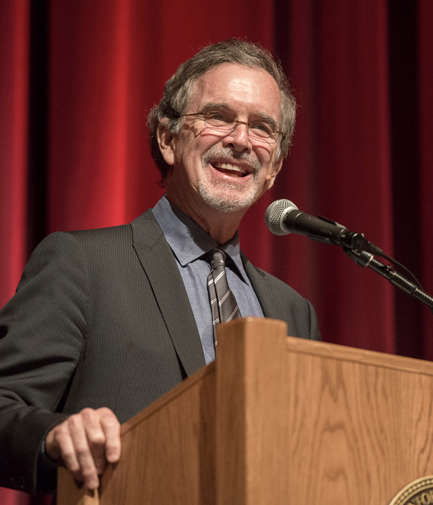 Garry Trudeau gives a lecture at Stanford in 2014.