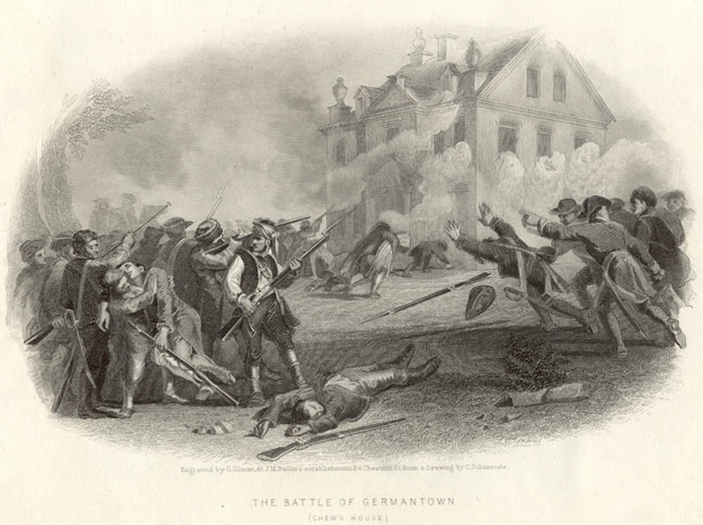 Illustration of the battle at the stone house by American artist Christian Schussele