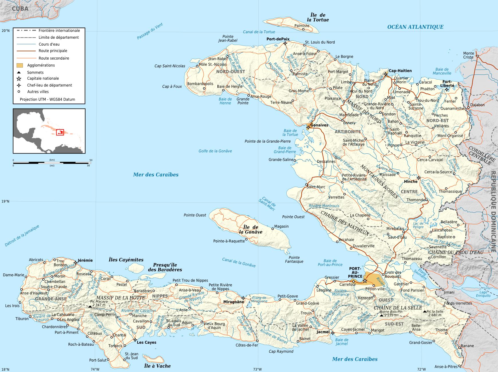 FileHaiti Road Mapfrpng Wikimedia Commons - Map haiti