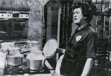 Julia Child gives the KUHT audience a cooking demonstration